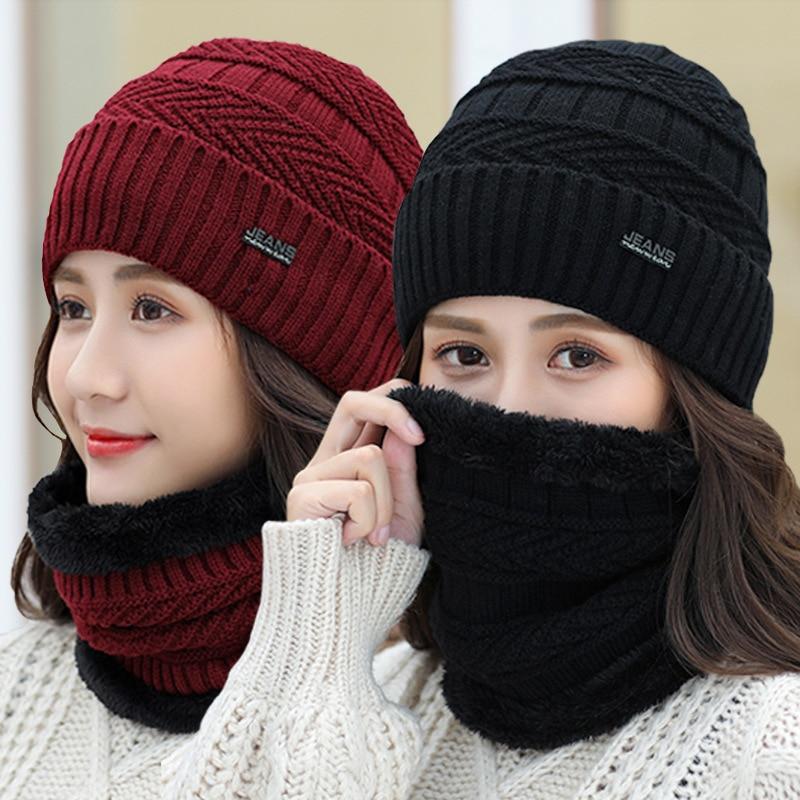 Winter Men Women Knitted Woolly Warm Beanie Hat Thermal Neck Snood Scarf Fleece