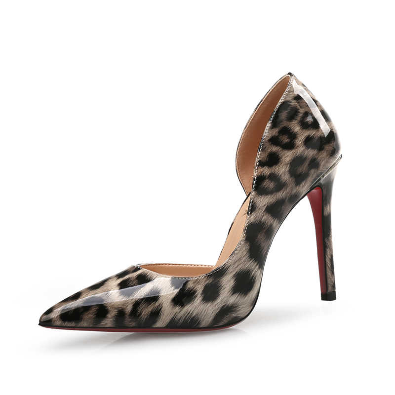 Sonbahar seksi leopar kadın yüksek topuklu ayakkabı 6-10CM zarif ofis ayakkabı pompaları kadın hayvan baskı sivri burun lüks single ayakkabı