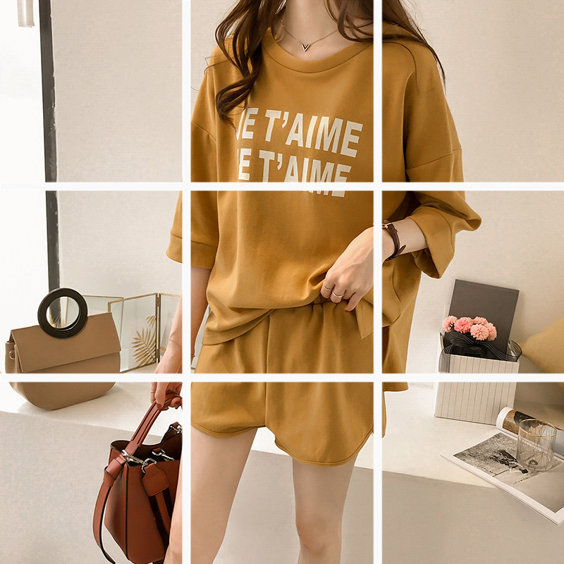 Summer 2018 New Style Korean-style Lettered Short Sleeve T-shirt Sports WOMEN'S Suit Loose-Fit Wide-Leg Shorts Casual Two-Piece