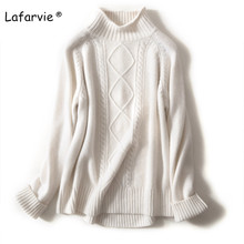 Lafarvie Winter Turtleneck Wool Blended Sweater Women Tops Full Thick Loose Pullover Female 3 Colors S-XXL Warm Pull Knit Jumper lafarvie knitted turtleneck cashmere sweater women tops full sleeve pullover female loose thick csual jumper high quality s xxl