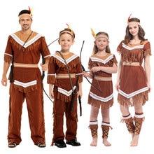 Umorden Caçadora Halloween Mulheres Trajes Da Princesa Crianças Meninas Pocahontas Indiano Traje Festa de Purim Carnaval Fancy Dress