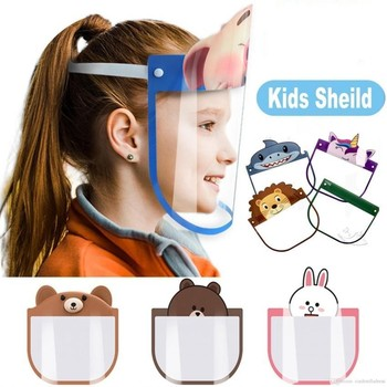 10 Kids Protective Face Shield Cover Plastic Clear Transparent Children Full Facial Mask Visor Anti Dust Spitting With Sponge outdoor protective transparent plastic mask with elastic strap