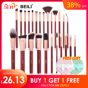 BEILI brushes red pro goat hair makeup brushes set eye shadow Contour Foundation Blending Vintage make up brush fan brushes