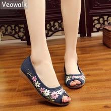 Veowalk Flowers Appliques Women Linen Peep Toe Flat Shoes Handmade Low Top Cotton Casual Walking Sandials for Ladies Comfortable
