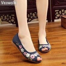 Veowalk الزهور يزين النساء الكتان اللمحة تو حذاء مسطح اليدوية منخفضة أعلى القطن عادية المشي سانديالس للسيدات مريحة