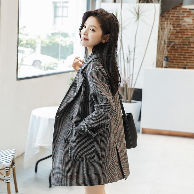 Vintage Plaid Ladies Blazer Casual Loose Simple Suit Jacket Stylish Chamaras Mujer Korean Spring Autumn Women's Clothing MM60NXZ