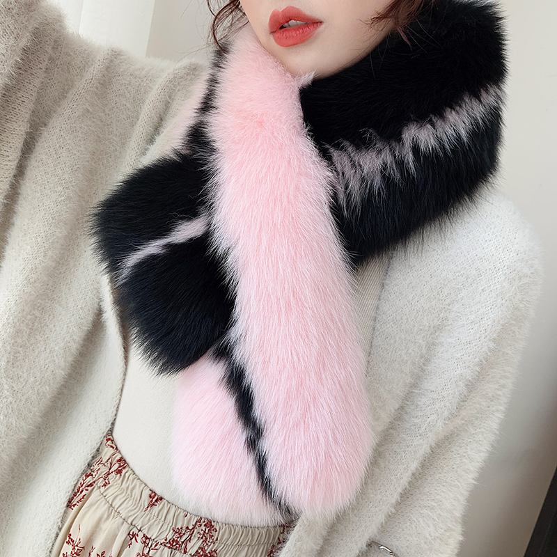 Lantafe Winter Scarf Women Scarf Genuine Fox Fur Whole Skin Collar Color Match Thicker Style Fur For Young Ladies