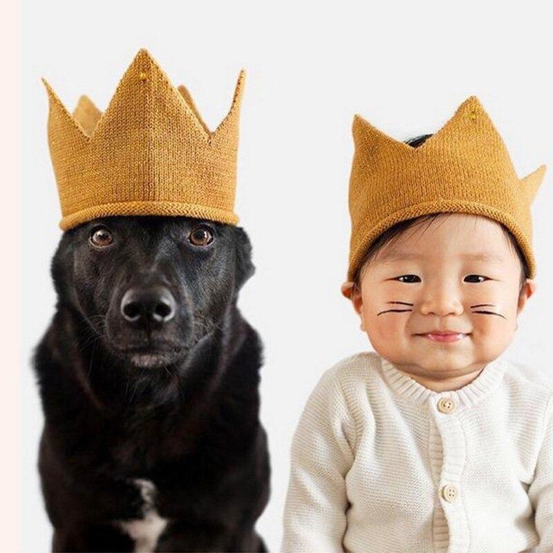 >Baby Hats Girl Crown Knitted <font><b>Cap</b></font> Toddler Empty <font><b>Top</b></font> Hats Newborn Design Woolen Yarn Bonnet Children Soft Solid Beanies Headband