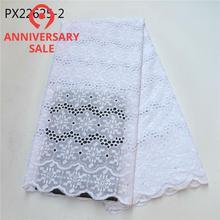 Красивые Последние цвета дизайн белый хлопок кружева ткани вышивка Тяжелая швейцарская вуаль для женщин