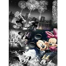 New DIY 5D Disney Mickey Couple Full Sticker Rhinestone Diamond Painting Diamond Embroidered Cross Stitch New Year Fireworks(China)