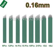 Agulhas de lâmina tebori, 0.16mm microagulhamento 9 12 14 15 18 2115u 16u 12 u 18u agulhas para tatuagem permanente caneta manual para lâmina de maquiagem