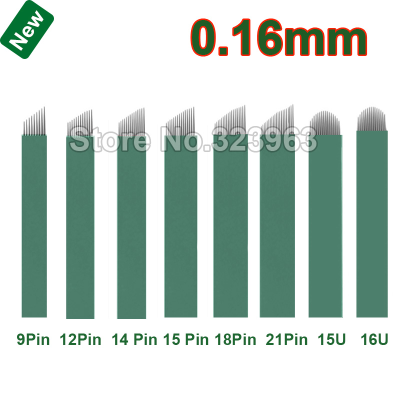 0 16mm Lamina Tebori Microblading Needles for Permanent Makeup Blade Manual Pen Tattoo Needles 9 12 14 15 18 2115U 16U 12 U 18U in Tattoo Needles from Beauty Health
