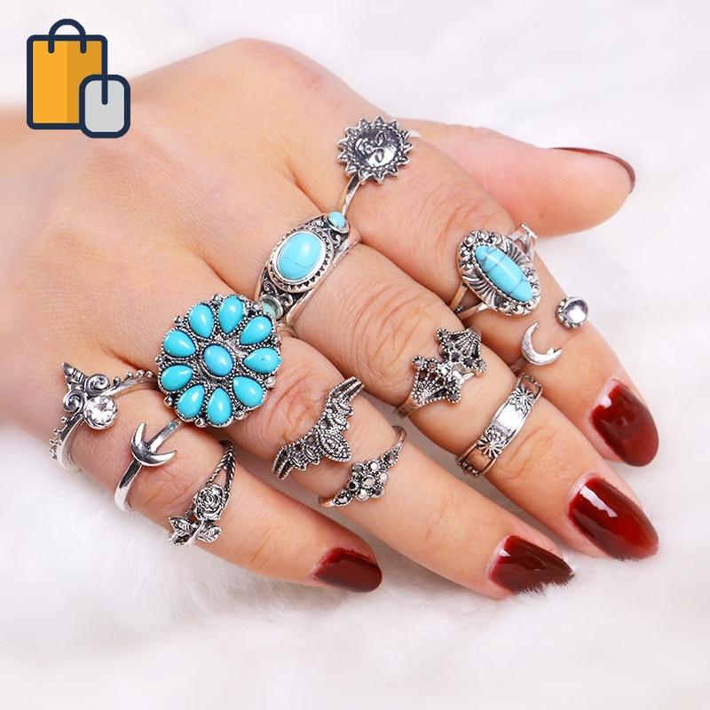 12 шт./компл. кольца Солнцезащитные овальные комплекты колец на фалангу Бохо пляжные кольца для женщин кольца ювелирные изделия