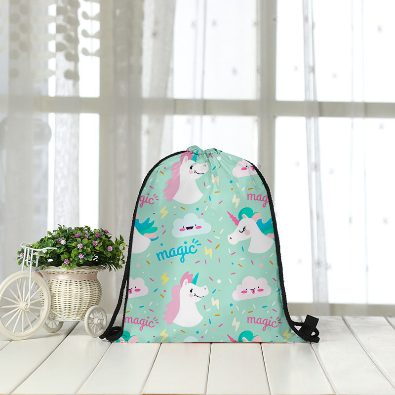 Backpack Bag Unicorn Shopping Receiving Rope 3D Digital Printing Bundle Bag Wholesale  Drawstring Bag Women Men Fashon Fashion