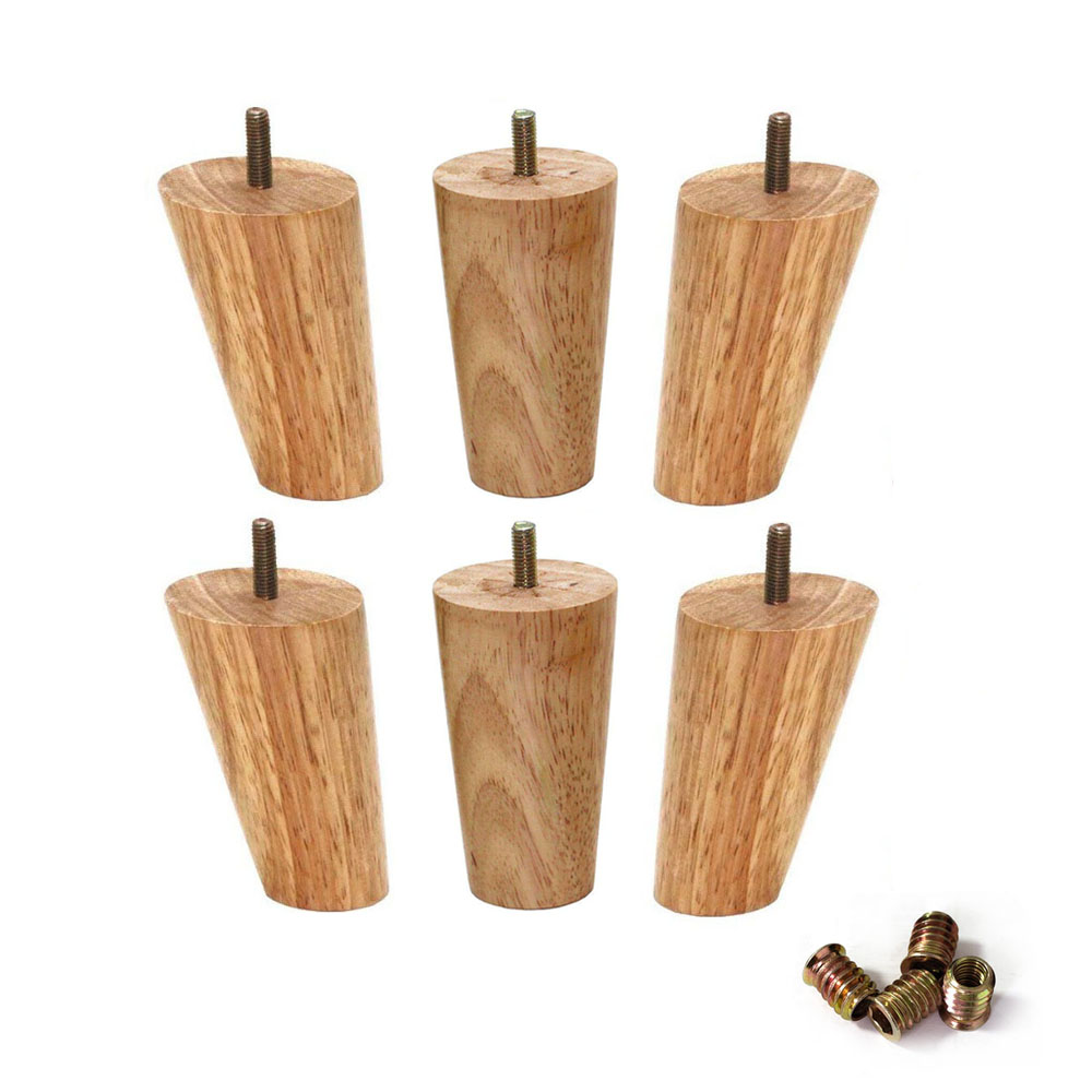 10cm Height Wood Color Rubber Wood Furniture Legs M8 Thread Replacement For Cabinet Chair Couch Table Bed Feet Pack Of 4