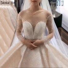 Dubaj Ivory Sparkle wysokiej klasy seksowne suknie ślubne z długim rękawem frezowanie suknie ślubne z perłami HA2287 wykonane na zamówienie