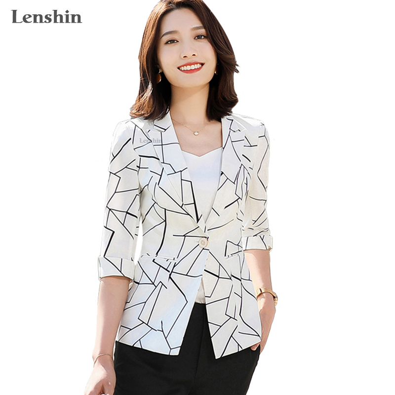 Lenshin Geometric Blazer Plaid Jacket For Women Summer Wear Casual Style Breathable Coat Half Sleeve Breathable Top Outwear