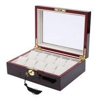 6 10 12 Slot / Grid Watch Box Velvet Wooden Display Container Storage Holder Travel Organizer Gift Box With Tassel Key