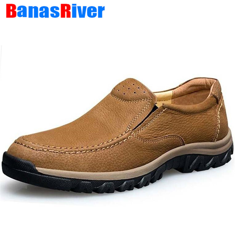 2020 New Spring Autumn Leather Mens Casual Shoes Outdoor Walking Footwear Sneakers Loafers Ultralight Breathable Plus Size 37-47