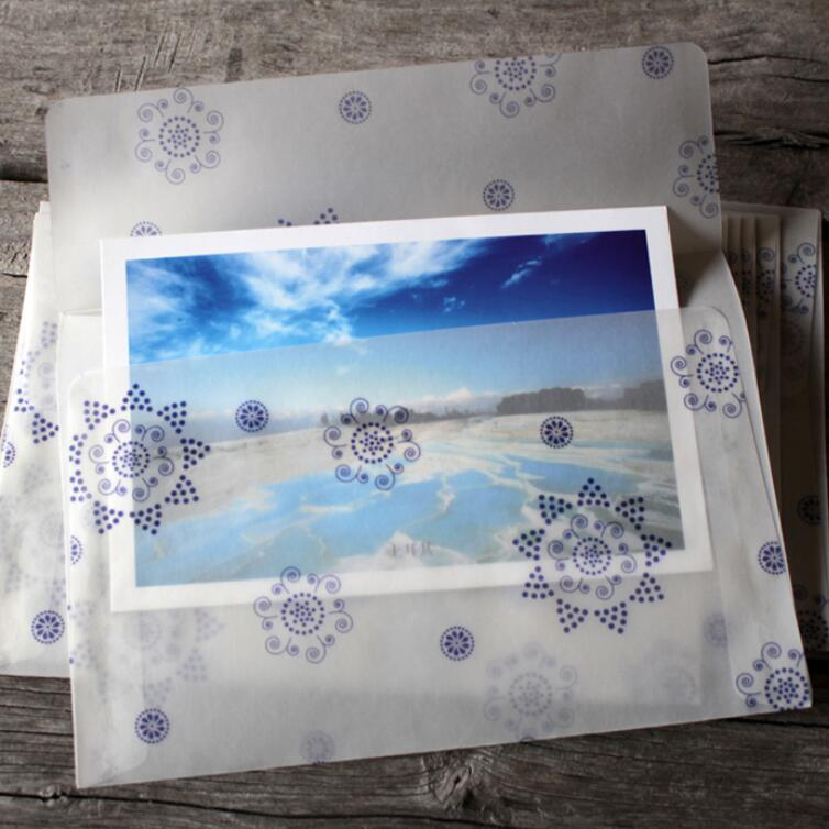 10pcs/lot 175*125mmb New DIY Multifunction Vintage Romantic  Translucent Snowflake Quality Envelopes
