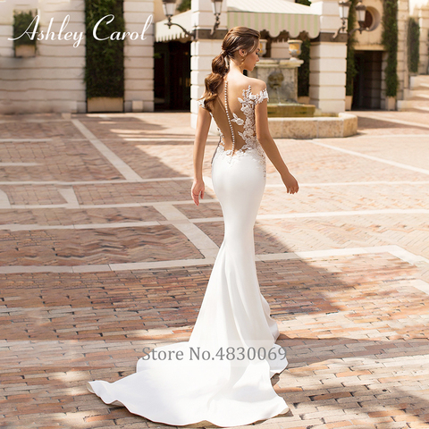 Ashley Carol Sexy V-neckline Beading Soft Satin Mermaid Wedding Dress 2019 Vintage Backless Bride Dress Romantic Wedding Gowns Lahore