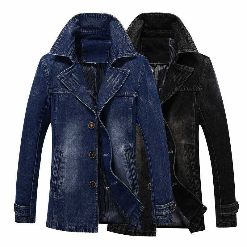 New Business Men Jacket Lapel Collar Single Breasted Denim Washed Slim Fit Jeans Outwear Coat Large Size M-4XL