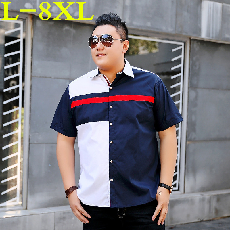 Plus Size 8XL 9XL 10XL Summer Men's Striped Shirts Short Sleeve Shirts Men Brand Clothing Male Shirts Social Loose Fit Cotton
