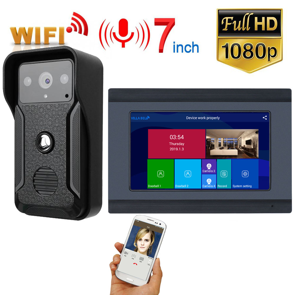 GAMWTER 7 Inch Wireless WiFi Smart IP Video Door Phone Intercom System With 1x1080P Wired Doorbell Camera,Support Remote Unlock