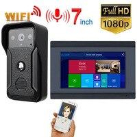 GAMWTER 7 Inch Wireless WiFi Smart IP Video Door Phone Intercom System with 1x1080P Wired Doorbell Camera,Support Remote unlock