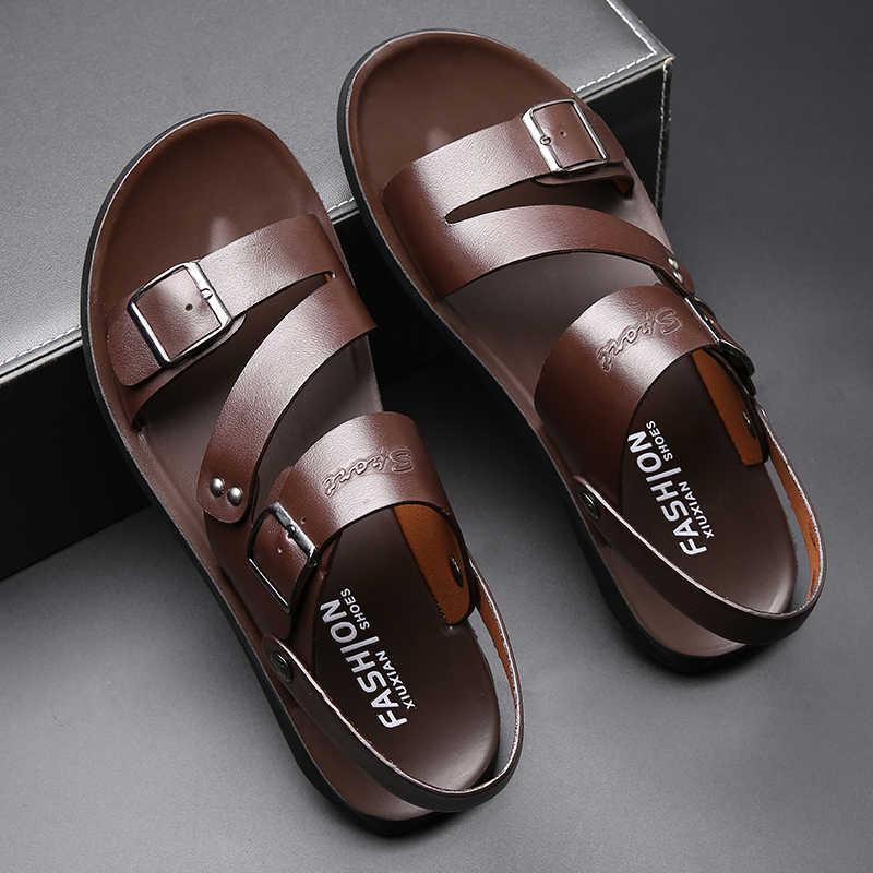 Yomior nowa moda codzienna mężczyźni buty Slip-On oryginalna krowa skóra miękka antypoślizgowa plaża letnie sandały klapki mieszkania Flip Flop