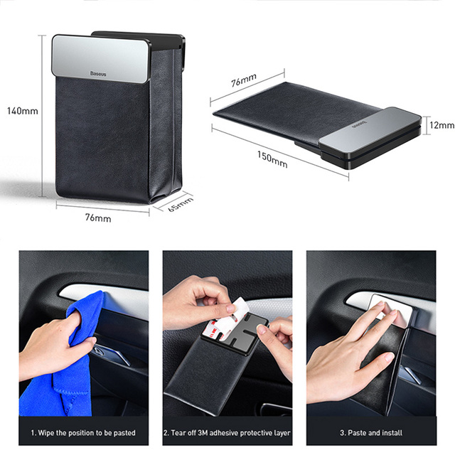 Baseus Magnetic Car Organizer Leather Car Storage Auto Pouch Bag Box Pocket Holder For Phone Card Backseat Seat Car Accessories 6