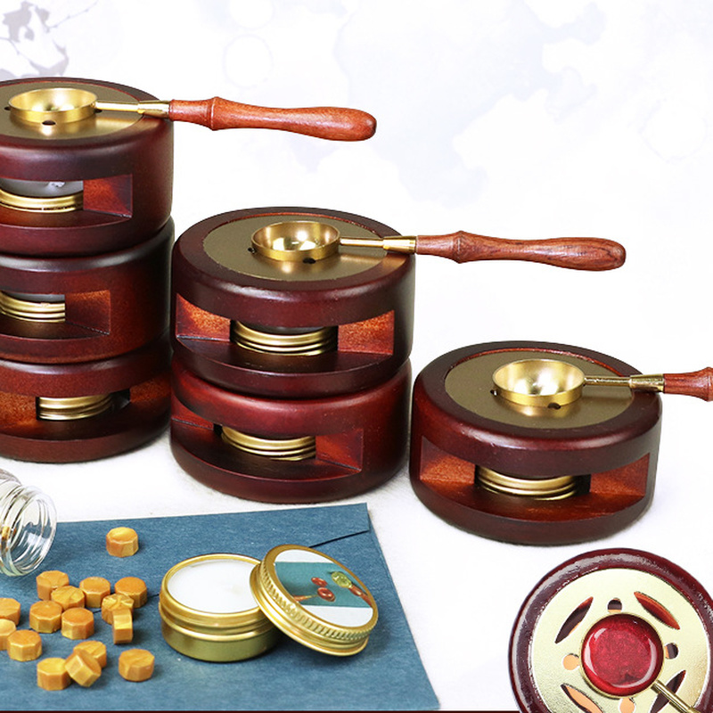 Retro Wax Seal Melting Furnace Solid Wood Oven Furnace Wax Pot Beads Sticks Heater Wax Warmer Decorative Craft for Candle Stamp