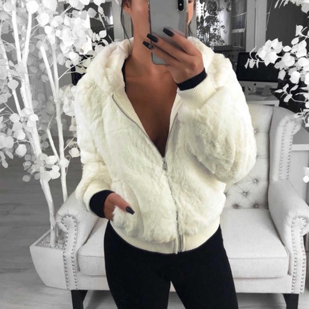 LASPERAL 2019 yeni taklit kürk kadın ceket Hood ile yüksek bel moda ince siyah kırmızı pembe Faux kürk ceket sahte tavşan kürk palto