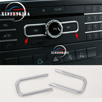 For Mercedes-Benz A B E CLA GLA GLE Class W176 W246 C117 X156 2PCS Chrome Inner CD Control Frame Cover Trim 1