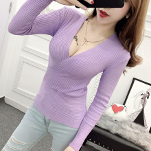 Sexy Cross Deep V-neck Tight Low-cut bottoming V Neck Knitted Sweater Pullover Women Knit Sweaters Jumper Pull Tops C361