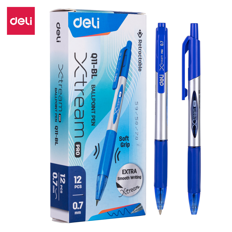 DELI Smooth Ballpoint Pen Low Viscosity Ink Refill Signing 0.7mm Black Blue Office School Writing Tools Stationery Ball Pens Q10