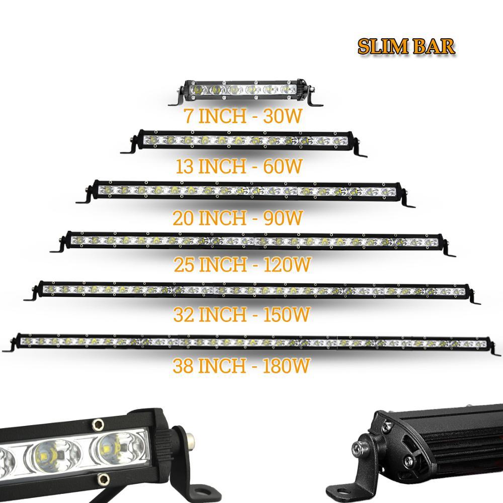 """LED WORK LIGHT BAR 12V 24V auto headlights slim car driving lamp 7"""" 13"""" 20"""" 25"""" 32"""" 38"""" for offroad 4x4 truck ramp ATV"""