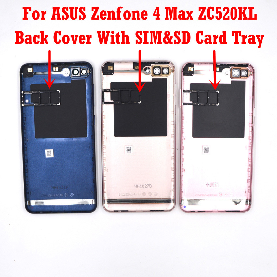 For ASUS Zenfone 4 Max ZC520KL New Original Back Battery Door Housing SIM SD Card Tray Cover Power & Volume Button + Camera Lens