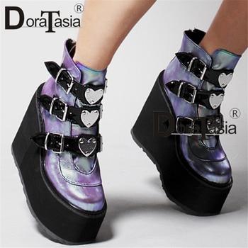DORATASIA Luxury Brand New Fashion Female Platform Boots Classic Wedges Ankle Women 2020 Metal Buckle Autumn Shoes Woman - discount item  40% OFF Women's Shoes