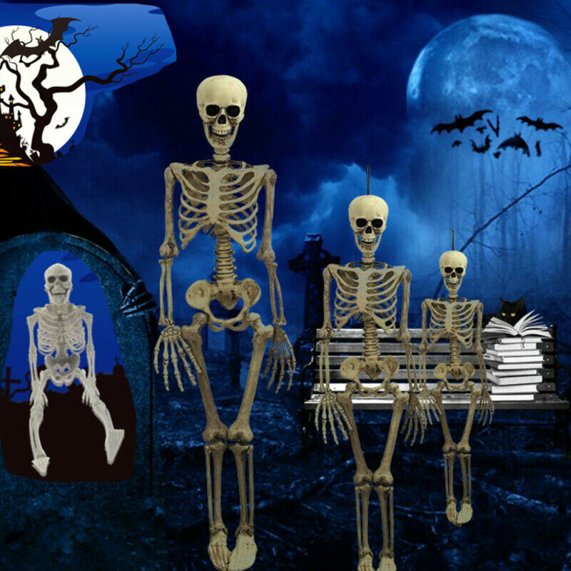 Hot Halloween Home Party Decor <font><b>Poseable</b></font> Human Baby Kids Size Prop Skull <font><b>Skeleton</b></font> Halloween Simulation <font><b>Skeleton</b></font> Tidy Props image