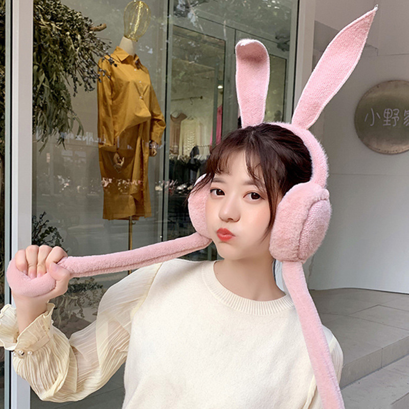 Cute Women Earmuffs Warm Can Move Airbags Cap Plush Dance Rabbit Ear Autumn Winter KNG88
