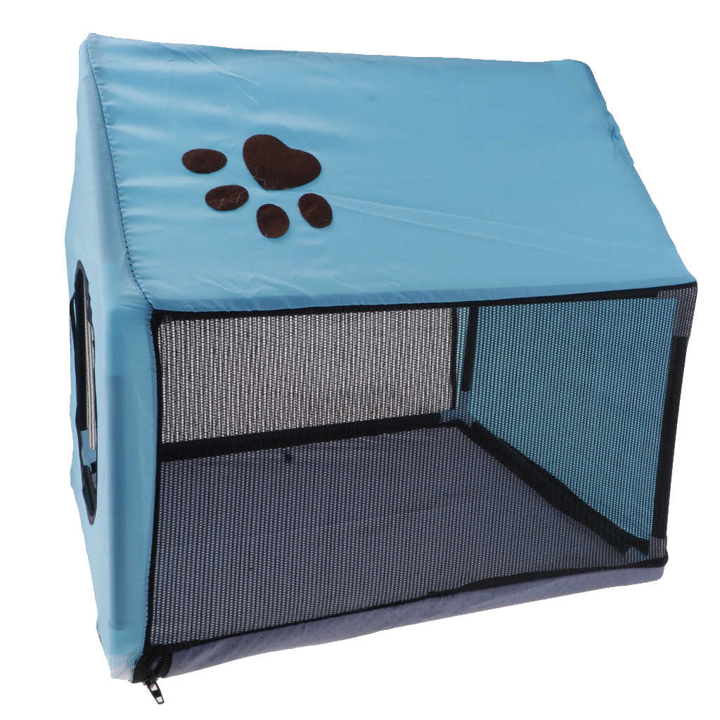 Bernapas Indoor Rumah Anjing Hewan Peliharaan Musim Panas Rumah Anjing Anak Anjing Penampungan Tempat Tidur Tikar-Biru