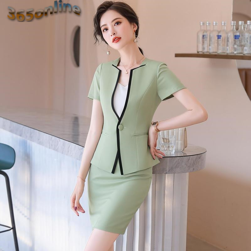 Summer Short Sleeve Professional Women Business Suits with