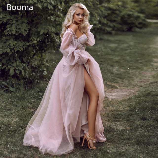 Booma Pink Wedding Dresses Beach Boho Off the Shoulder Bridal Gown Sweetheart Elegant Princess Wedding Party Gown Plus Size 1