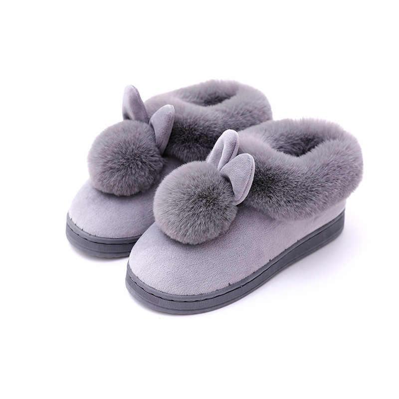 Kadın ev botları kış güzel tavşan kulaklar yumuşak pamuklu sıcak ayakkabı kadın kar ayak bileği çizmeler rahat kapalı açık Botas Mujer