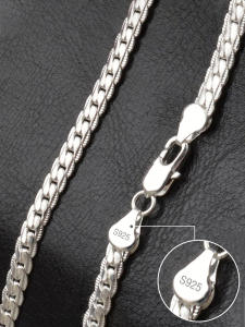 Chain Necklace Fashion Jewelry 925-Sterling-Silver 18k Gold Women AGLOVER 6mm for Man