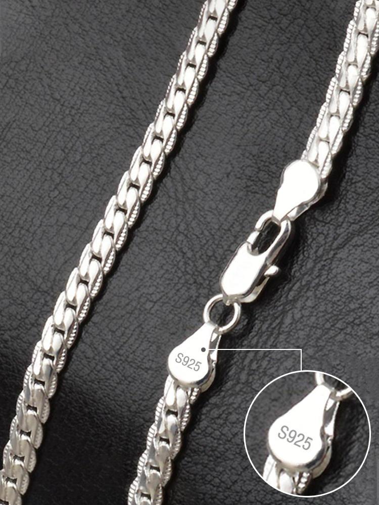 Цепочка AGLOVER из стерлингового серебра 925 пробы для мужчин и женщин, ожерелье из 18-каратного золота с полными боковыми полосками 6 мм, модные ю...