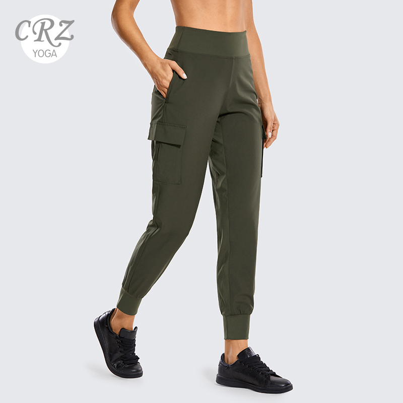 CRZ YOGA Women's Quick Dry Lounge Joggers With Pockets High Waisted Training Cargo Pants Workout Clothes