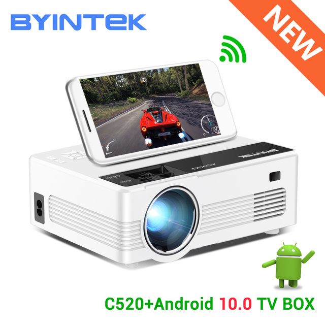 BYINTEK C520 Mini Hd Projector (Optioneel Android 10 Tv Box),150Inch Home Theater, draagbare Led Projector Voor Telefoon 1080P 3D 4K
