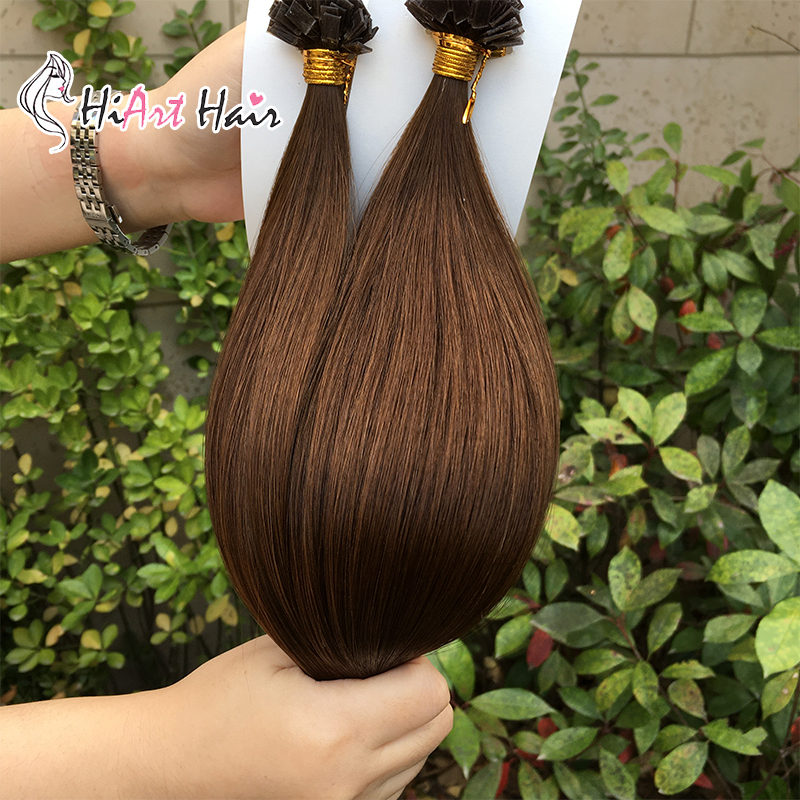 Hiart 1g/s Keratin Flat Tip Hair Extensions Salon 100% Real Double Drawn Human Remy Hair Straight Pre Bonded Hair Extension